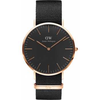 DANIEL WELLINGTON CLASSIC BLACK CORNWALL ROSE GOLD - VELKÉ