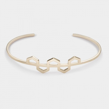 CLUSE ESSENTIELLE GOLD HEXAGONS PATTERN CUFF BRACELET CLJ11004