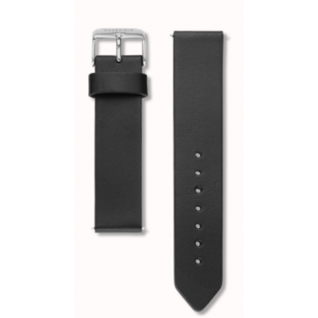 ROSEFIELD BLACK STRAP CLEAN CUT / 38MM / SILVER