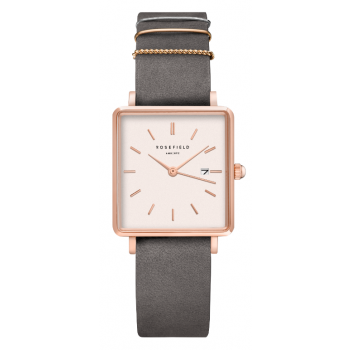 ROSEFIELD THE BOXY ELEPHANT GREY - ROSE GOLD / 33MM