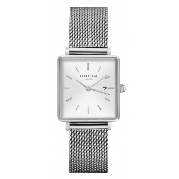 ROSEFIELD THE BOXY WHITE SUNRAY - SILVER / 33MM MESH