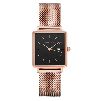 ROSEFIELD THE BOXY BLACK - ROSE GOLD / 33MM