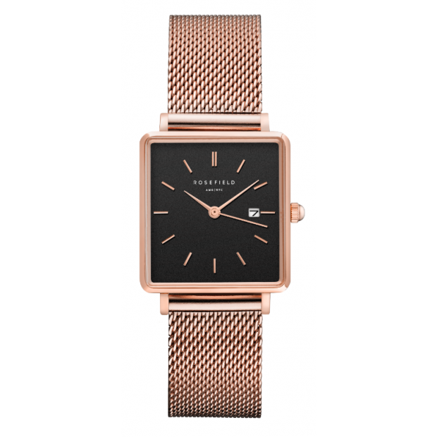 Hodinky ROSEFIELD THE BOXY BLACK - ROSE GOLD / 33MM