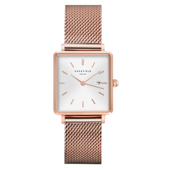 ROSEFIELD THE BOXY WHITE SUNRAY - ROSE GOLD / 33MM