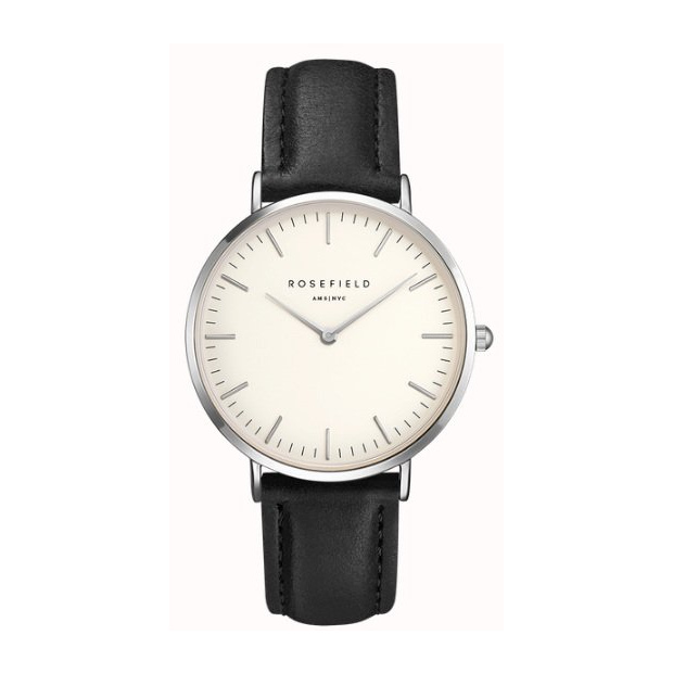 Hodinky ROSEFIELD THE BOWERY SILVER WHITE - BLACK / 38MM