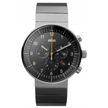 BRAUN GENTS BN0095 PRESTIGE CHRONOGRAPH WATCH WITH STAINLESS STEEL BRACELET/SILVER