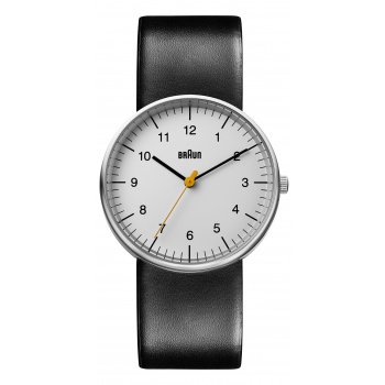 BRAUN GENTS BN0021 CLASSIC WATCH - WHITE DIAL AND LEATHER STRAP
