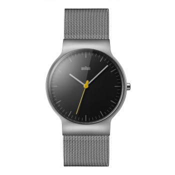 BRAUN GENTS BN0211 CLASSIC SLIM WATCH WITH MESH BRACELET/BLACK/SILVER
