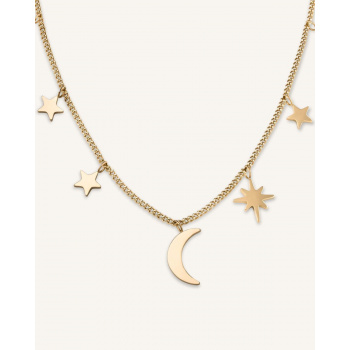 ROSEFIELD MULTI STARS AND MOON NECKLACE GOLD