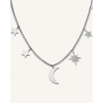 ROSEFIELD MULTI STARS AND MOON NECKLACE SILVER
