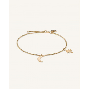ROSEFIELD MOON AND STAR BRACELET GOLD