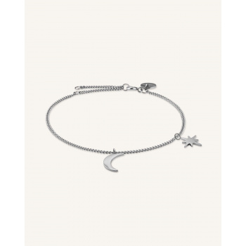 ROSEFIELD MOON AND STAR BRACELET SILVER