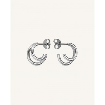 ROSEFIELD DOUBLE HOOP SMALL SILVER