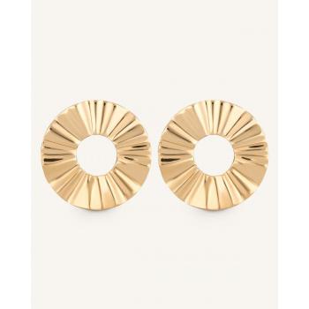 ROSEFIELD LIQUID WAVED COIN EARRING GOLD