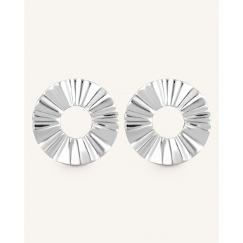 ROSEFIELD LIQUID WAVED COIN EARRING SILVER