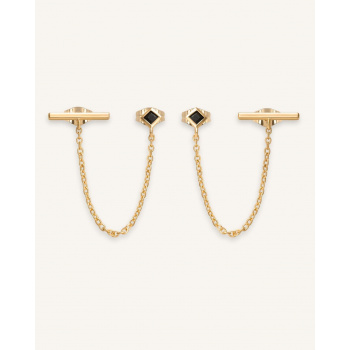 ROSEFIELD DOUBLE TROUBLE BLACK STONE EARRING GOLD