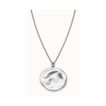 ROSEFIELD TEXTURED COIN NECKLACE SILVER