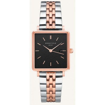 ROSEFIELD THE BOXY BLACK SILVER ROSEGOLD DUO / 33 MM