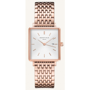 ROSEFIELD THE BOXY WHITE SUNRAY STEEL ROSEGOLD / 33 MM