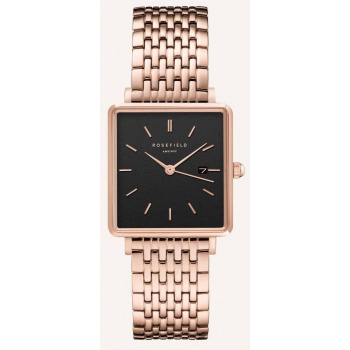 ROSEFIELD THE BOXY BLACK STEEL ROSEGOLD / 33 MM