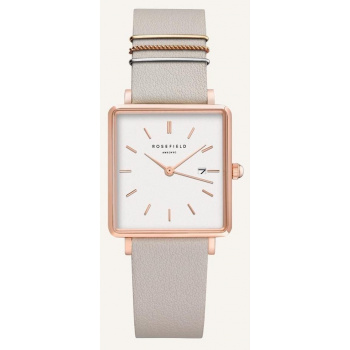 ROSEFIELD THE BOXY WHITE COOL GREY ROSE GOLD / 33MM