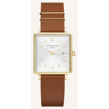 ROSEFIELD THE BOXY WHITE SUNRAY COGNAC GOLD / 33 MM