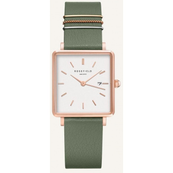 ROSEFIELD THE BOXY WHITE FRESH OLIVE GREEN ROSE GOLD / 33 MM