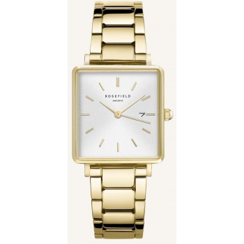 ROSEFIELD THE BOXY WHITE SUNRAY STEEL GOLD 33MM