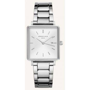 ROSEFIELD THE BOXY WHITE SUNRAY STEEL SILVER 33MM