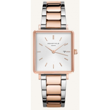 ROSEFIELD THE BOXY WHITE SUNRAY STEEL SILVER ROSE GOLD DUO 33MM
