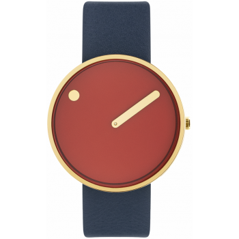 PICTO 40 MM CINNAMON RED/CIRCULAR BRUSHED GOLD 43397-6720G
