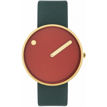 PICTO 40 MM CINNAMON RED/CIRCULAR BRUSHED GOLD 43397-6620G